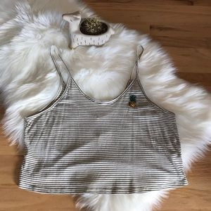 NWT Papaya striped tank with embroidered pineapple